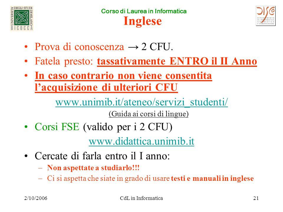 Corso di Laurea in Informatica 2/10/2006CdL in Informatica21 Inglese Prova di conoscenza → 2 CFU. Fatela presto: tassativamente ENTRO il II Anno In ca