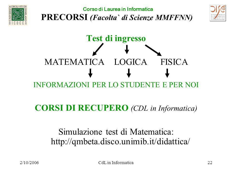 Corso di Laurea in Informatica 2/10/2006CdL in Informatica22 PRECORSI (Facolta` di Scienze MMFFNN) Test di ingresso MATEMATICALOGICAFISICA INFORMAZIONI PER LO STUDENTE E PER NOI CORSI DI RECUPERO (CDL in Informatica) Simulazione test di Matematica: http://qmbeta.disco.unimib.it/didattica/