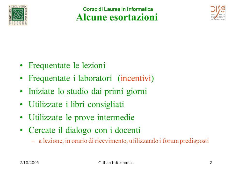 Corso di Laurea in Informatica 2/10/2006CdL in Informatica19 Verifiche, Recuperi e Appelli d'Esame