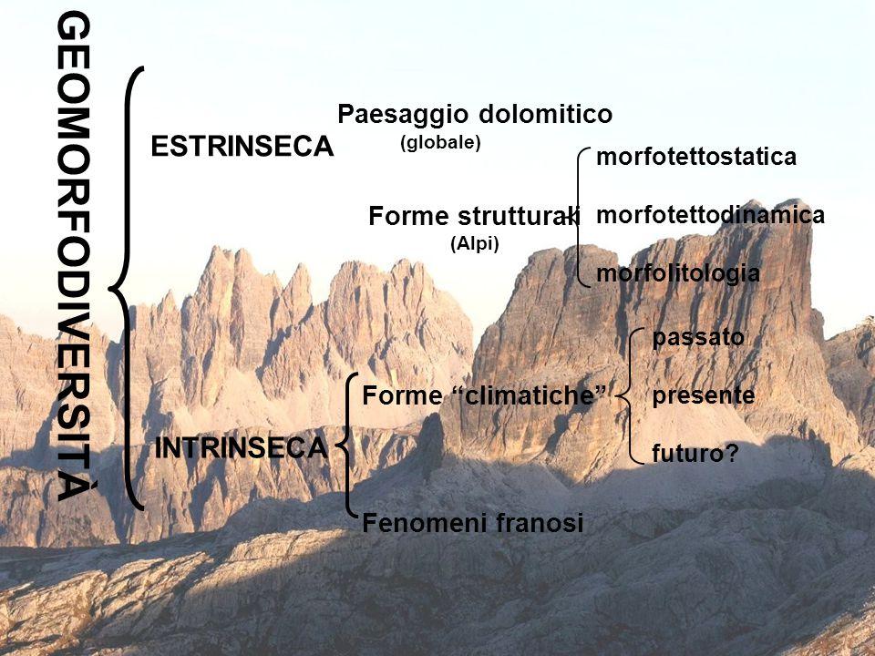10 GEOMORFODIVERSITÀ ESTRINSECA INTRINSECA Paesaggio dolomitico Forme strutturali (Alpi) Forme climatiche Fenomeni franosi morfotettostatica morfotettodinamica morfolitologia passato presente futuro.