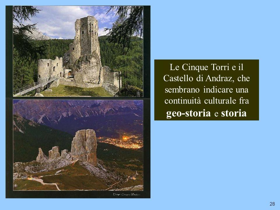 28 Le Cinque Torri e il Castello di Andraz, che sembrano indicare una continuità culturale fra geo-storia e storia
