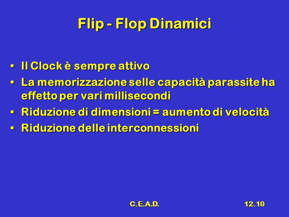 C.E.A.D.12.10 Flip - Flop Dinamici Il Clock è sempre attivoIl Clock è sempre attivo La memorizzazione selle capacità parassite ha effetto per vari mil