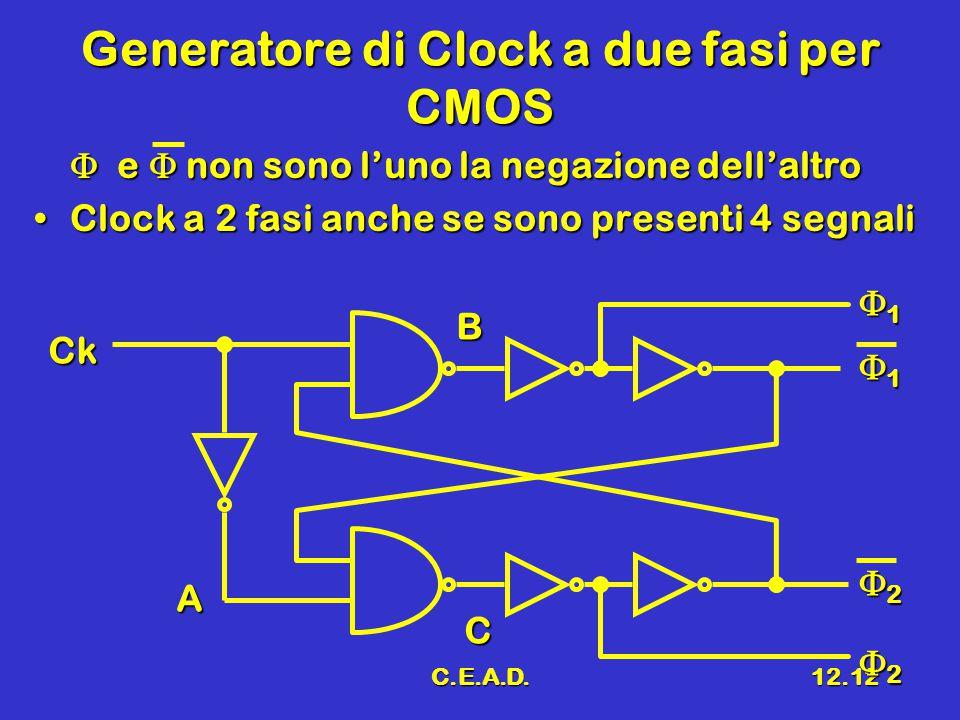 C.E.A.D.12.12 Generatore di Clock a due fasi per CMOS  e  non sono l'uno la negazione dell'altro Clock a 2 fasi anche se sono presenti 4 segnaliClock a 2 fasi anche se sono presenti 4 segnali A Ck 1111 2222 1111 2222 B C