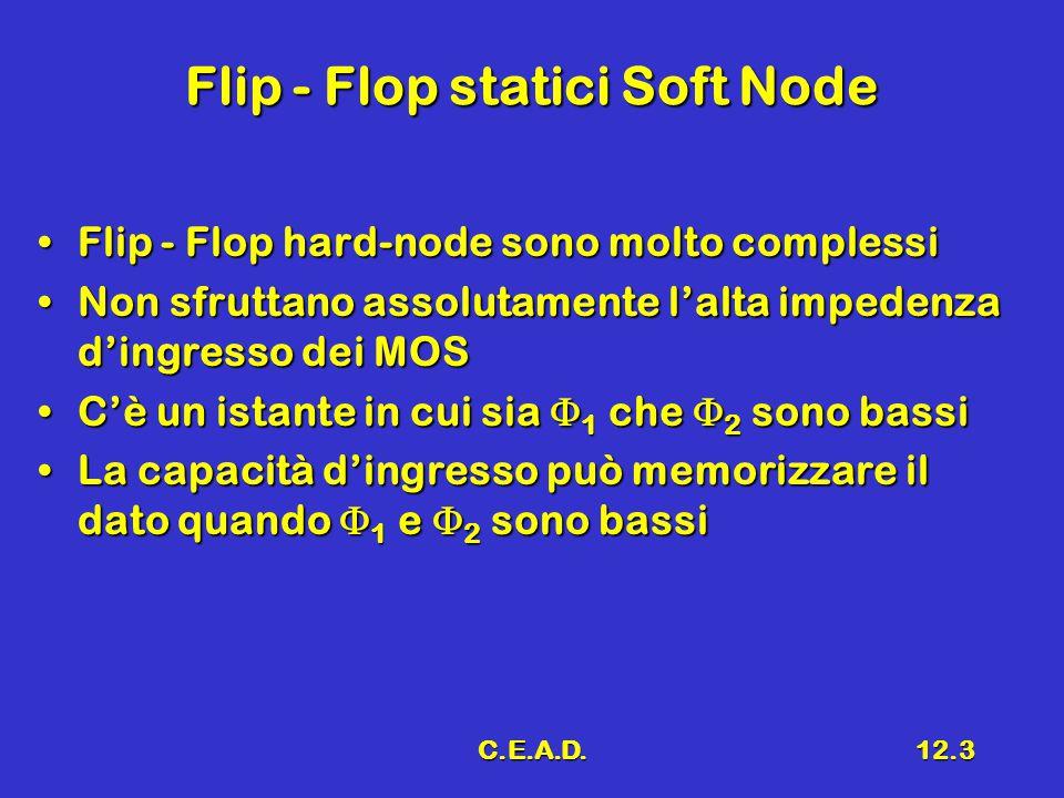 C.E.A.D.12.3 Flip - Flop statici Soft Node Flip - Flop hard-node sono molto complessiFlip - Flop hard-node sono molto complessi Non sfruttano assoluta