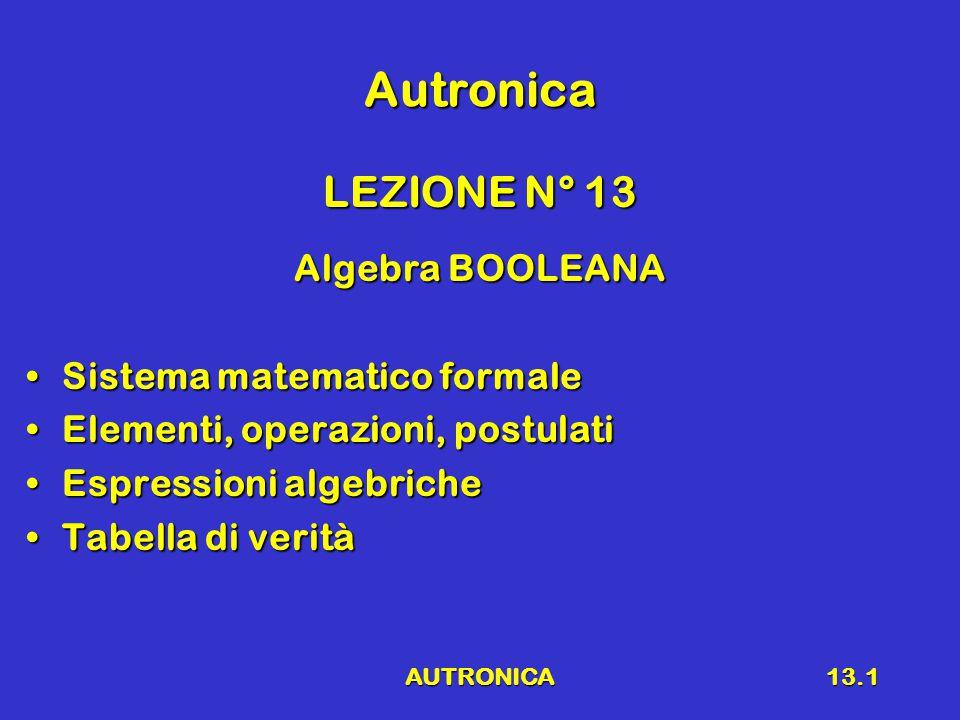 AUTRONICA13.2 Algebra della Logica Gerge BooleGerge Boole Matematico inglese(1815 – 1864)Matematico inglese(1815 – 1864) Algebra della Logica, Algebra di Boole, Algebra BooleanaAlgebra della Logica, Algebra di Boole, Algebra Booleana Sistema matematico formale che descrive funzioni logicheSistema matematico formale che descrive funzioni logiche Funzioni che possono assumere al minimo (solo) due valoriFunzioni che possono assumere al minimo (solo) due valori VeroFalsoVeroFalso Le variabili di funzioni logiche possono assumere solo due valoriLe variabili di funzioni logiche possono assumere solo due valori Sistema matematico formaleSistema matematico formale Insieme di elementiInsieme di elementi insieme di operazioniinsieme di operazioni insieme di postulatiinsieme di postulati »TEOREMI