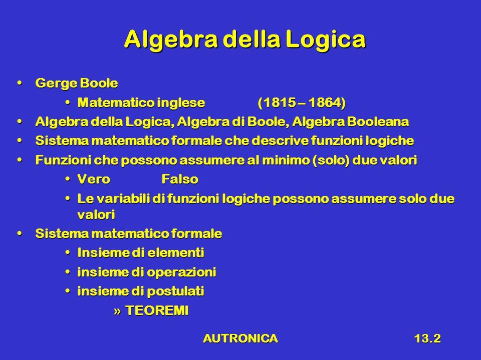 AUTRONICA13.3 Definizioni Elementi (2) [Algebra delle commutazioni]Elementi (2) [Algebra delle commutazioni] 0 (logico)1 (logico)0 (logico)1 (logico) FalsoVeroFalsoVero Livello logico BasoLivello logico AltoLivello logico BasoLivello logico Alto 0 V5 V0 V5 V Costanti Possono assumere due valoriCostanti Possono assumere due valori VariabiliPossono assumere due valoriVariabiliPossono assumere due valori