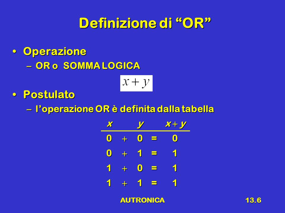 AUTRONICA13.6 Definizione di OR OperazioneOperazione –OR o SOMMA LOGICA PostulatoPostulato –l'operazione OR è definita dalla tabella xy x  y 00=0 01=1 10=1 11=1