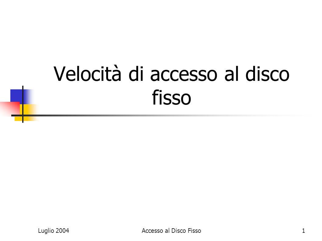 Luglio 2004Accesso al Disco Fisso1 Velocità di accesso al disco fisso