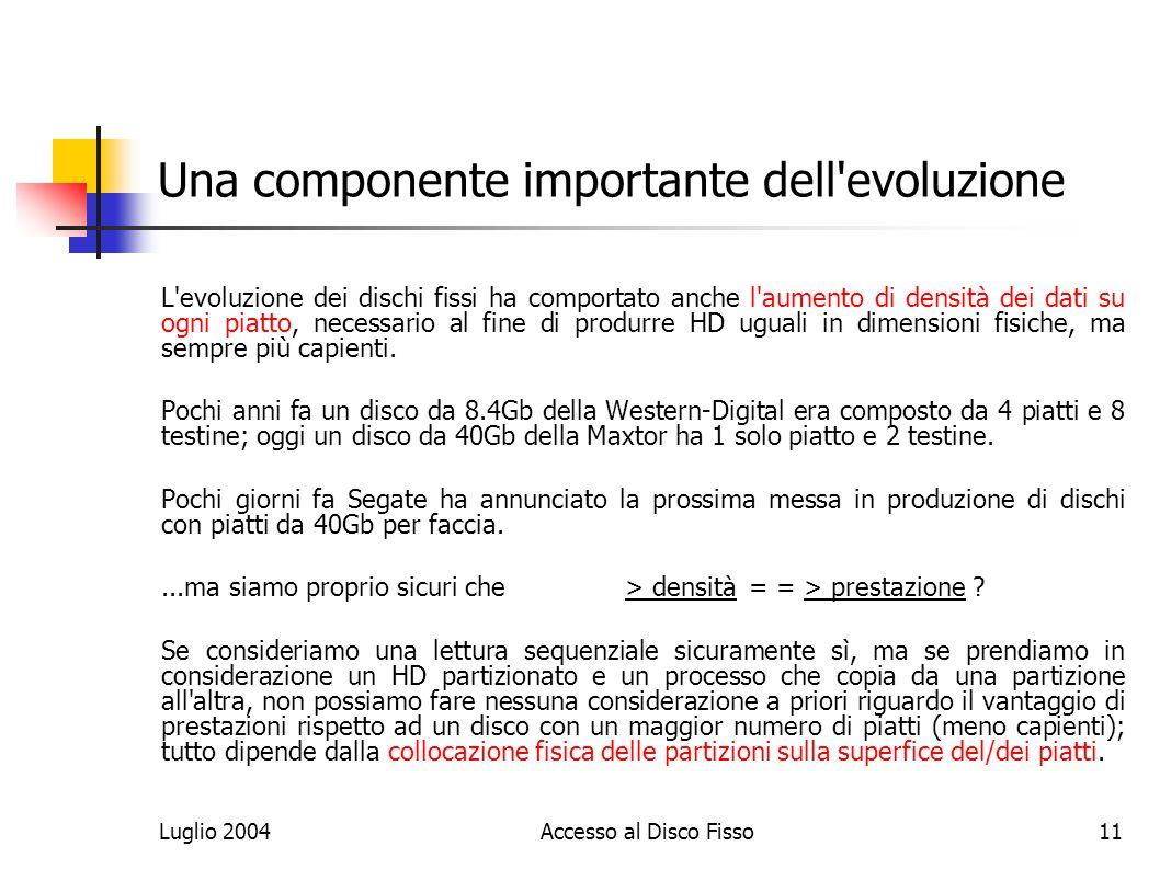 Luglio 2004Accesso al Disco Fisso11 Una componente importante dell evoluzione L evoluzione dei dischi fissi ha comportato anche l aumento di densità dei dati su ogni piatto, necessario al fine di produrre HD uguali in dimensioni fisiche, ma sempre più capienti.