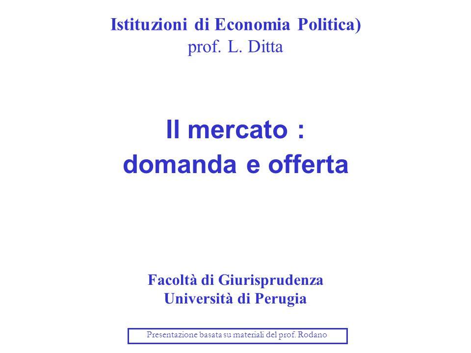 Istituzioni di Economia Politica) prof. L. Ditta Il mercato : domanda e offerta Facoltà di Giurisprudenza Università di Perugia Presentazione basata s