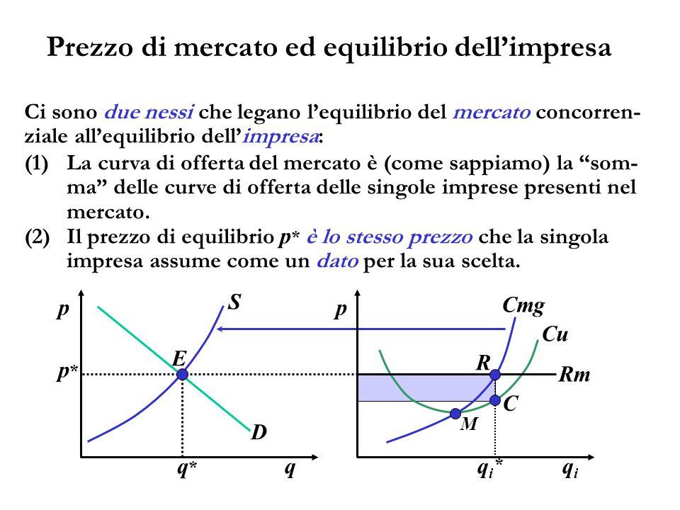 Prezzo di mercato ed equilibrio dell'impresa qiqi p Cu M Cmg p*p* Rm R C qiqi * q p D S E q*q* Ci sono due nessi che legano l'equilibrio del mercato c