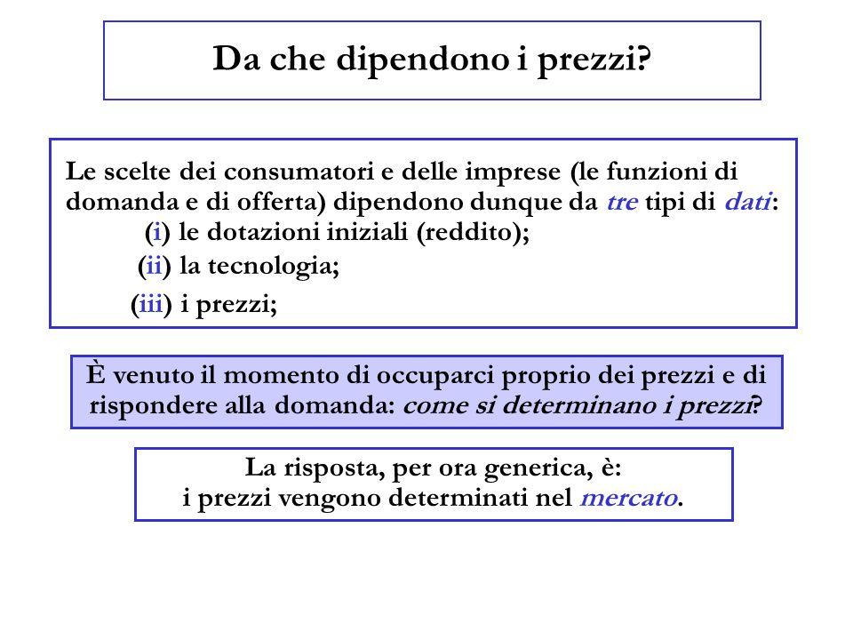 Da che dipendono i prezzi? Le scelte dei consumatori e delle imprese (le funzioni di domanda e di offerta) dipendono dunque da tre tipi di dati : (i)