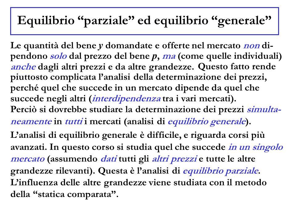 """Equilibrio """"parziale"""" ed equilibrio """"generale"""" Le quantità del bene y domandate e offerte nel mercato non di- pendono solo dal prezzo del bene p, ma ("""