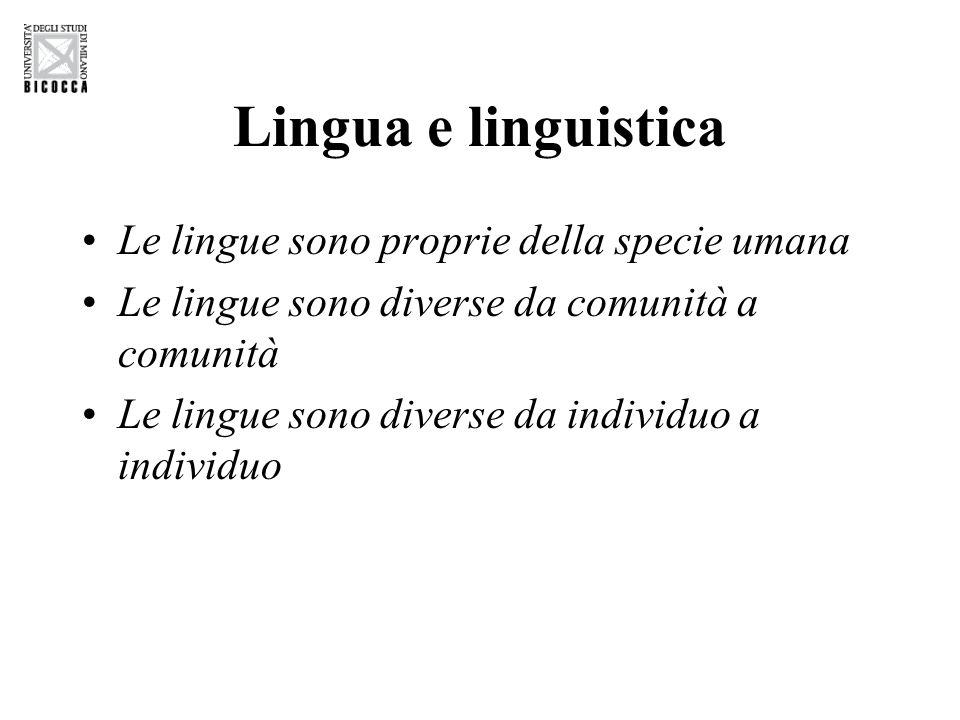 Lingua e linguistica Le lingue sono proprie della specie umana Le lingue sono diverse da comunità a comunità Le lingue sono diverse da individuo a individuo