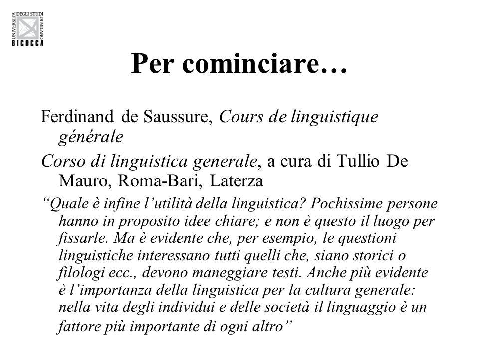 Per cominciare… Ferdinand de Saussure, Cours de linguistique générale Corso di linguistica generale, a cura di Tullio De Mauro, Roma-Bari, Laterza Quale è infine l'utilità della linguistica.