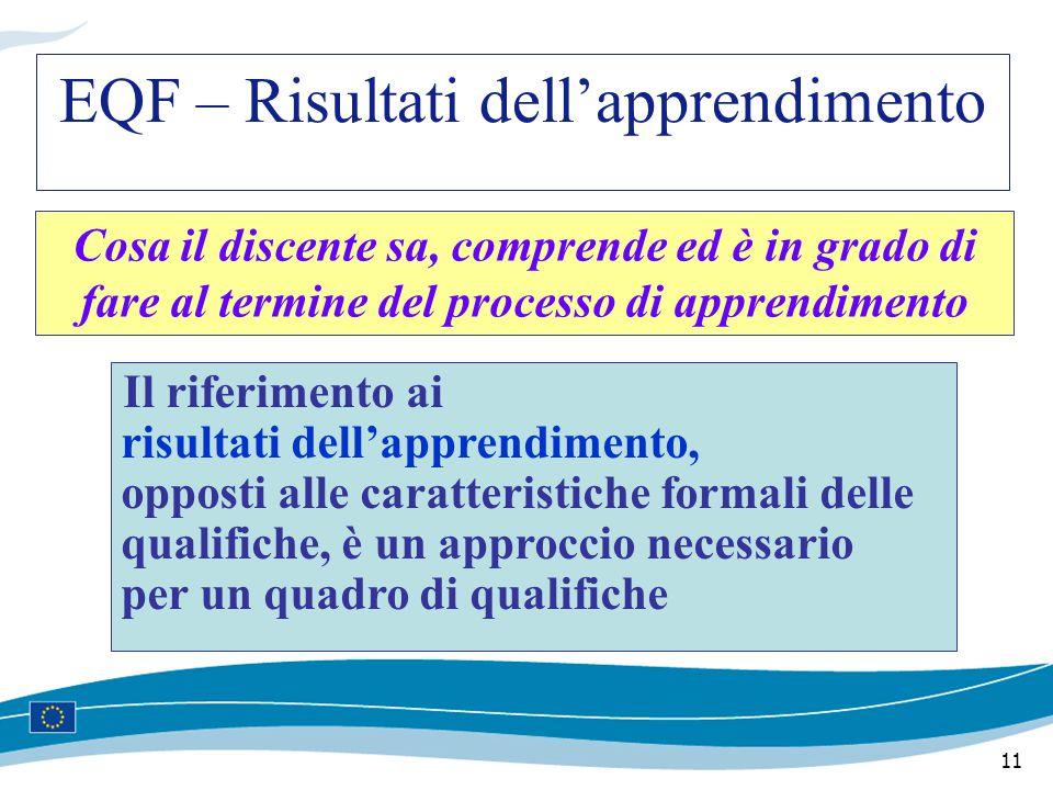 11 Cosa il discente sa, comprende ed è in grado di fare al termine del processo di apprendimento Il riferimento ai risultati dell'apprendimento, opposti alle caratteristiche formali delle qualifiche, è un approccio necessario per un quadro di qualifiche EQF – Risultati dell'apprendimento