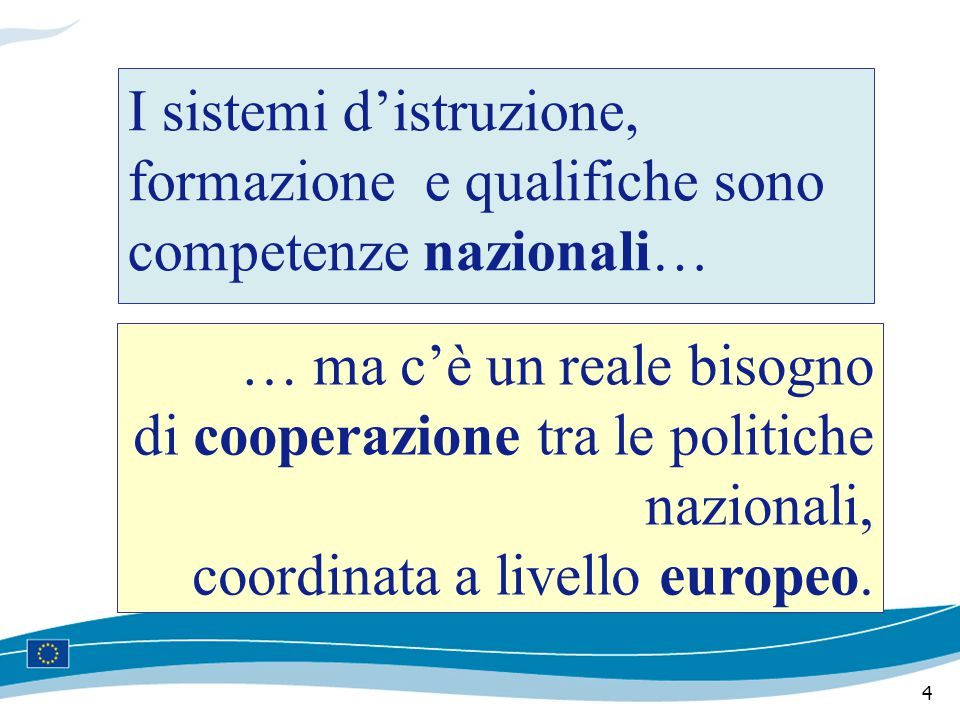 4 I sistemi d'istruzione, formazione e qualifiche sono competenze nazionali… … ma c'è un reale bisogno di cooperazione tra le politiche nazionali, coordinata a livello europeo.