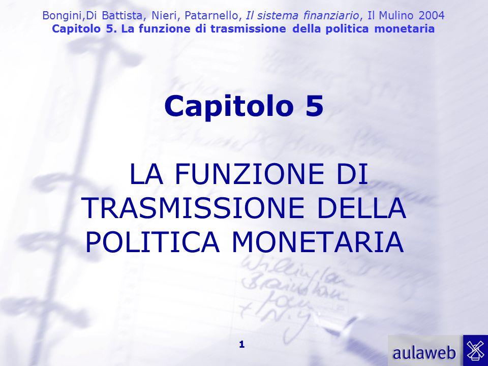 Bongini,Di Battista, Nieri, Patarnello, Il sistema finanziario, Il Mulino 2004 Capitolo 5. La funzione di trasmissione della politica monetaria 1 Capi