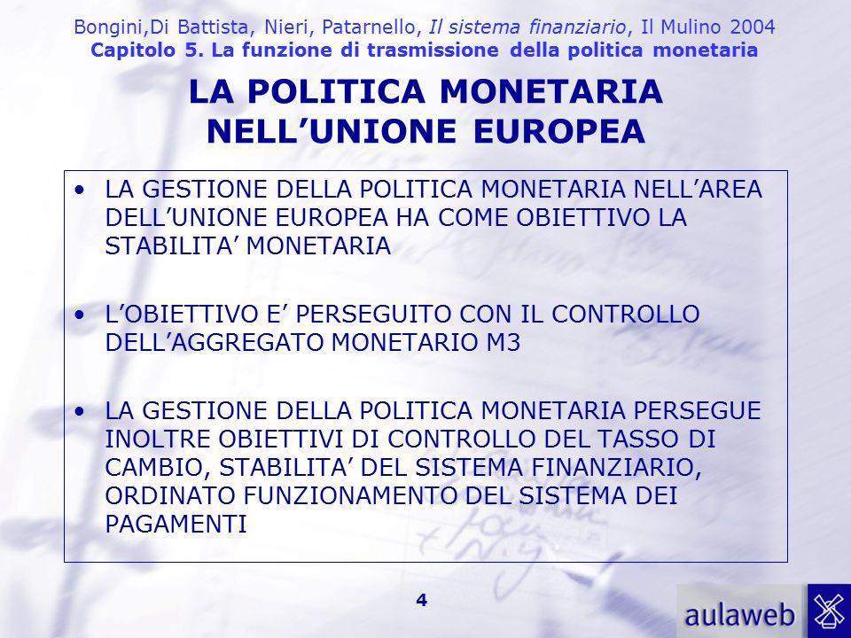 Bongini,Di Battista, Nieri, Patarnello, Il sistema finanziario, Il Mulino 2004 Capitolo 5. La funzione di trasmissione della politica monetaria 4 LA G