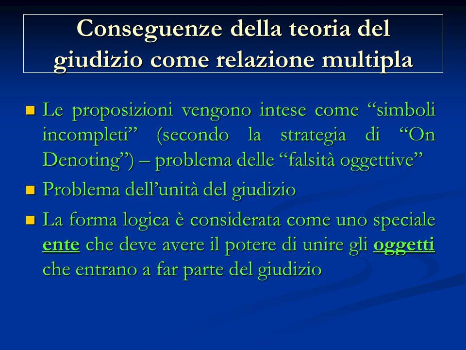 Conseguenze della teoria del giudizio come relazione multipla Le proposizioni vengono intese come simboli incompleti (secondo la strategia di On Denoting ) – problema delle falsità oggettive Le proposizioni vengono intese come simboli incompleti (secondo la strategia di On Denoting ) – problema delle falsità oggettive Problema dell'unità del giudizio Problema dell'unità del giudizio La forma logica è considerata come uno speciale ente che deve avere il potere di unire gli oggetti che entrano a far parte del giudizio La forma logica è considerata come uno speciale ente che deve avere il potere di unire gli oggetti che entrano a far parte del giudizio