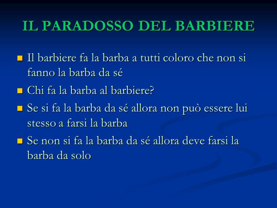 IL PARADOSSO DEL BARBIERE Il barbiere fa la barba a tutti coloro che non si fanno la barba da sé Il barbiere fa la barba a tutti coloro che non si fanno la barba da sé Chi fa la barba al barbiere.