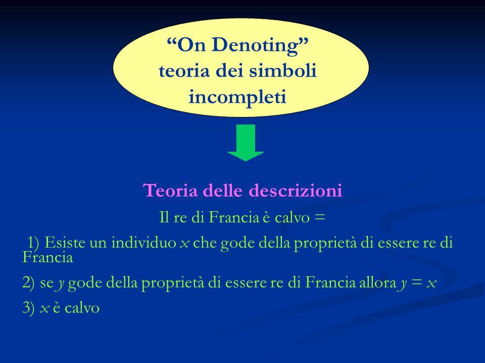 On Denoting teoria dei simboli incompleti Teoria delle descrizioni Il re di Francia è calvo = 1) Esiste un individuo x che gode della proprietà di essere re di Francia 2) se y gode della proprietà di essere re di Francia allora y = x 3) x è calvo