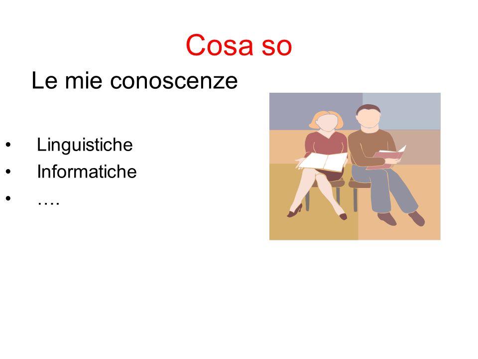 Cosa so Le mie conoscenze Linguistiche Informatiche ….