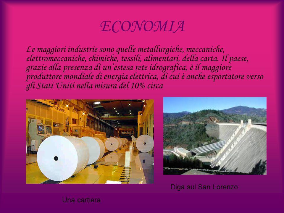 ECONOMIA Le maggiori industrie sono quelle metallurgiche, meccaniche, elettromeccaniche, chimiche, tessili, alimentari, della carta. Il paese, grazie