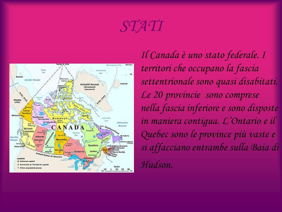 STATI Il Canada è uno stato federale. I territori che occupano la fascia settentrionale sono quasi disabitati. Le 20 provincie sono comprese nella fas