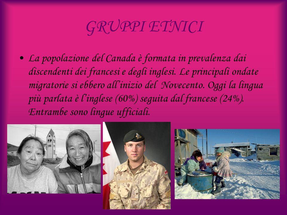 GRUPPI ETNICI La popolazione del Canada è formata in prevalenza dai discendenti dei francesi e degli inglesi. Le principali ondate migratorie si ebber