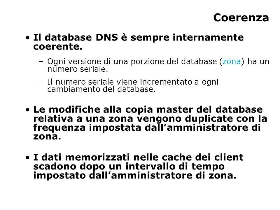 Coerenza Il database DNS è sempre internamente coerente. –Ogni versione di una porzione del database (zona) ha un numero seriale. –Il numero seriale v