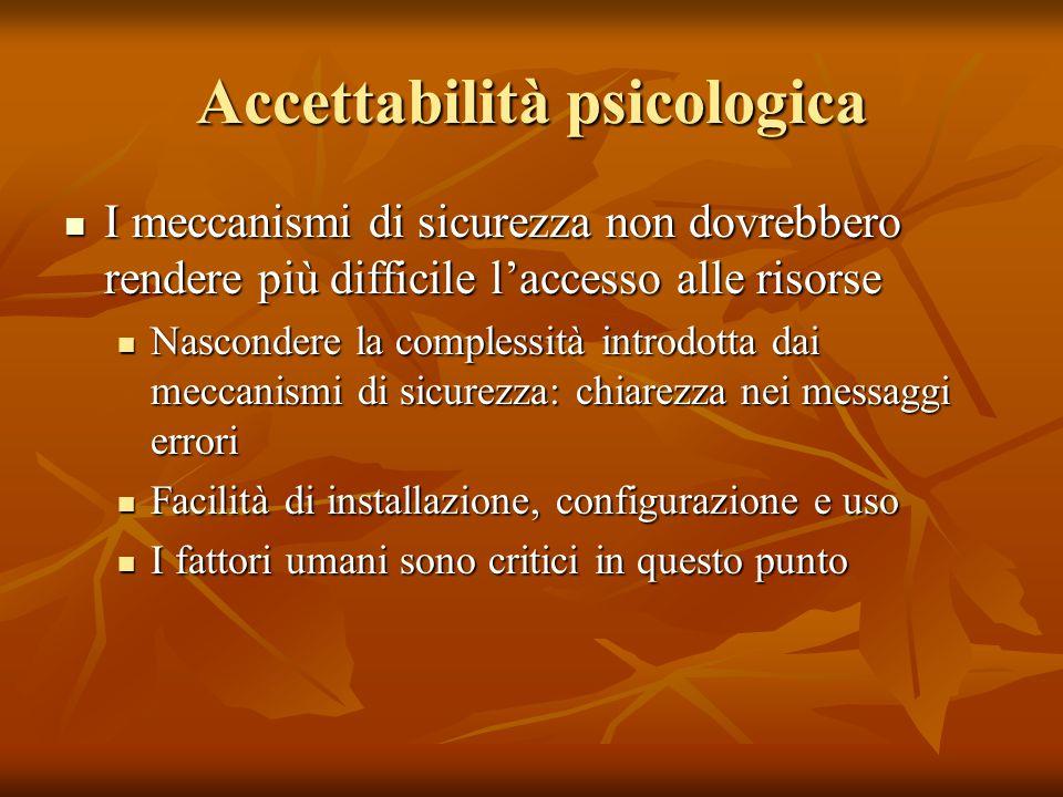 Accettabilità psicologica I meccanismi di sicurezza non dovrebbero rendere più difficile l'accesso alle risorse I meccanismi di sicurezza non dovrebbe