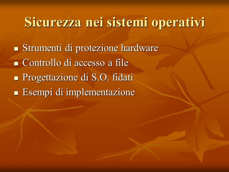 Sicurezza nei sistemi operativi Strumenti di protezione hardware Strumenti di protezione hardware Controllo di accesso a file Controllo di accesso a f