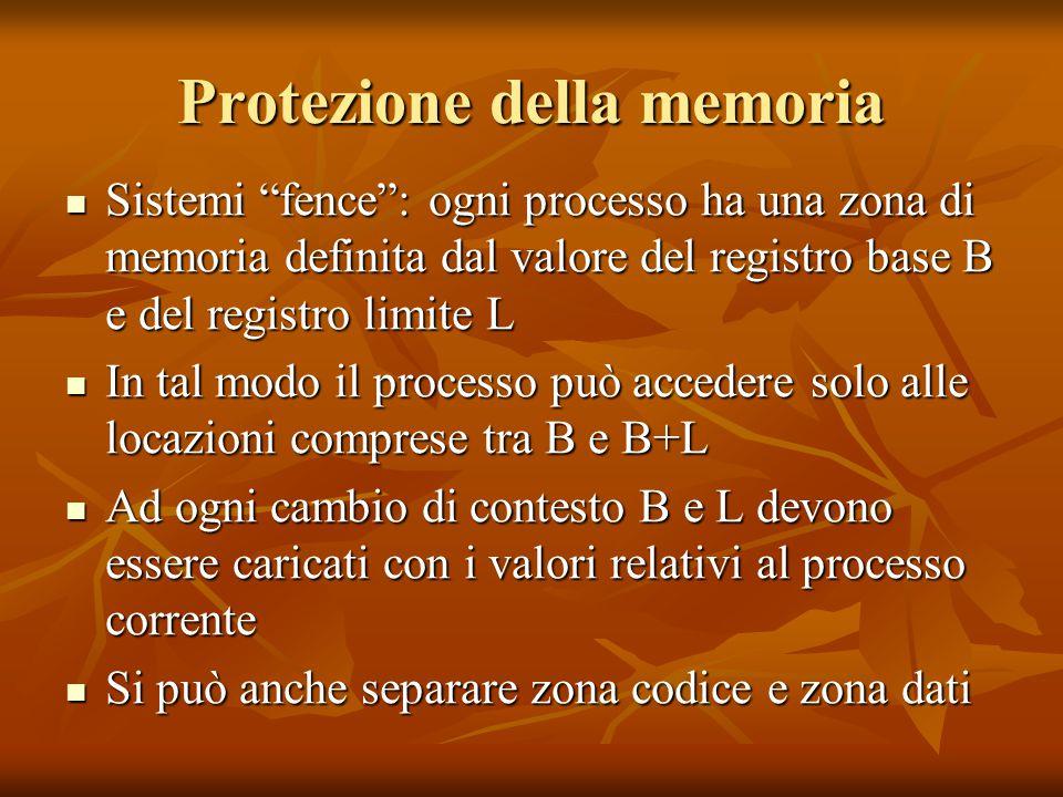 """Protezione della memoria Sistemi """"fence"""": ogni processo ha una zona di memoria definita dal valore del registro base B e del registro limite L Sistemi"""