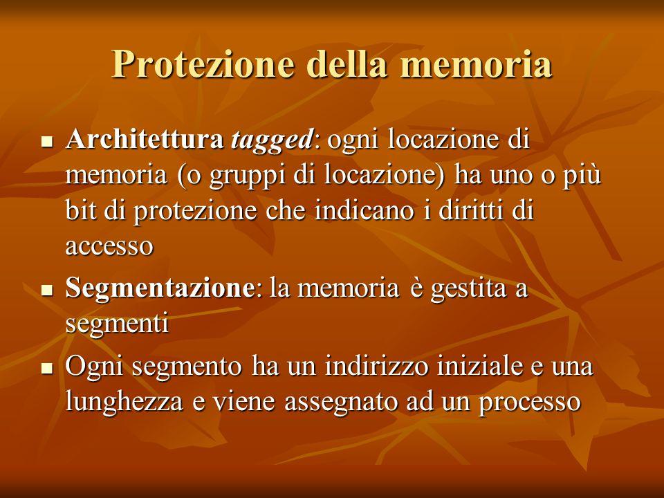 Protezione della memoria Architettura tagged: ogni locazione di memoria (o gruppi di locazione) ha uno o più bit di protezione che indicano i diritti