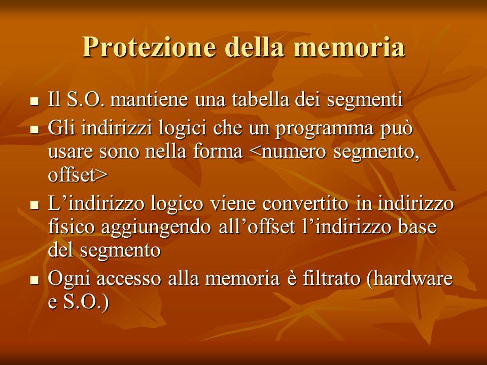 Protezione della memoria Il S.O. mantiene una tabella dei segmenti Il S.O. mantiene una tabella dei segmenti Gli indirizzi logici che un programma può