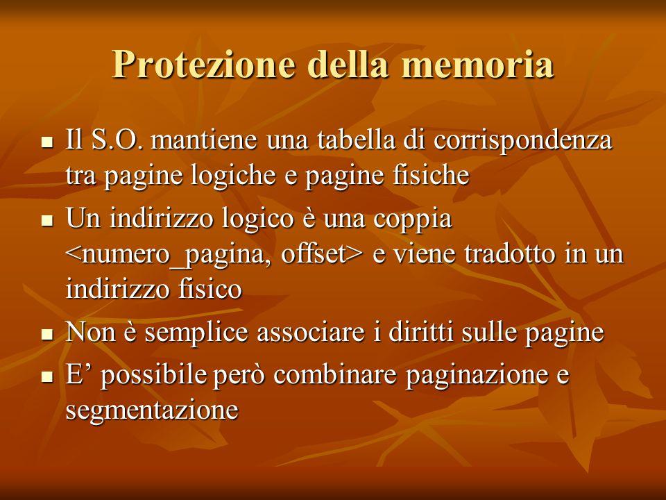 Protezione della memoria Il S.O. mantiene una tabella di corrispondenza tra pagine logiche e pagine fisiche Il S.O. mantiene una tabella di corrispond