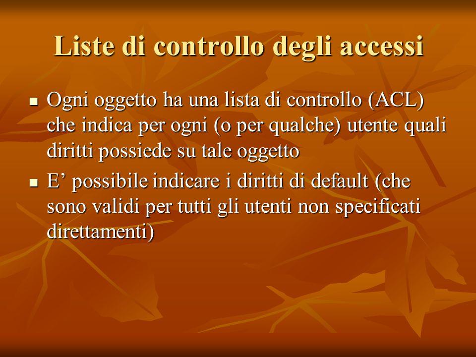 Liste di controllo degli accessi Ogni oggetto ha una lista di controllo (ACL) che indica per ogni (o per qualche) utente quali diritti possiede su tal