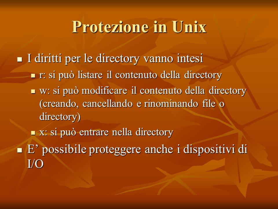 Protezione in Unix I diritti per le directory vanno intesi I diritti per le directory vanno intesi r: si può listare il contenuto della directory r: s