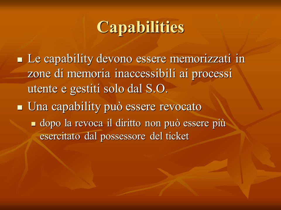 Capabilities Le capability devono essere memorizzati in zone di memoria inaccessibili ai processi utente e gestiti solo dal S.O. Le capability devono