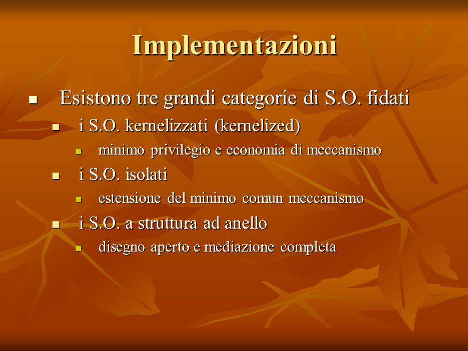 Implementazioni Esistono tre grandi categorie di S.O. fidati Esistono tre grandi categorie di S.O. fidati i S.O. kernelizzati (kernelized) i S.O. kern