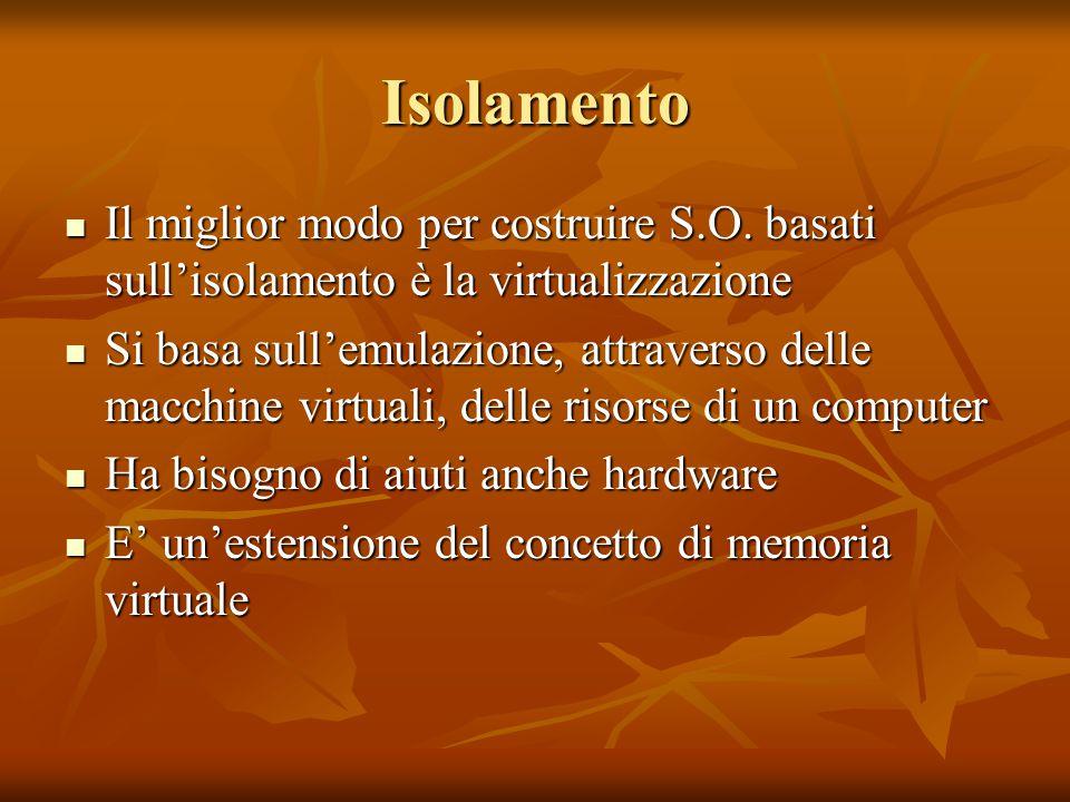 Isolamento Il miglior modo per costruire S.O. basati sull'isolamento è la virtualizzazione Il miglior modo per costruire S.O. basati sull'isolamento è