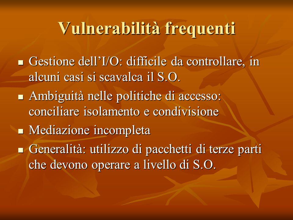 Vulnerabilità frequenti Gestione dell'I/O: difficile da controllare, in alcuni casi si scavalca il S.O. Gestione dell'I/O: difficile da controllare, i