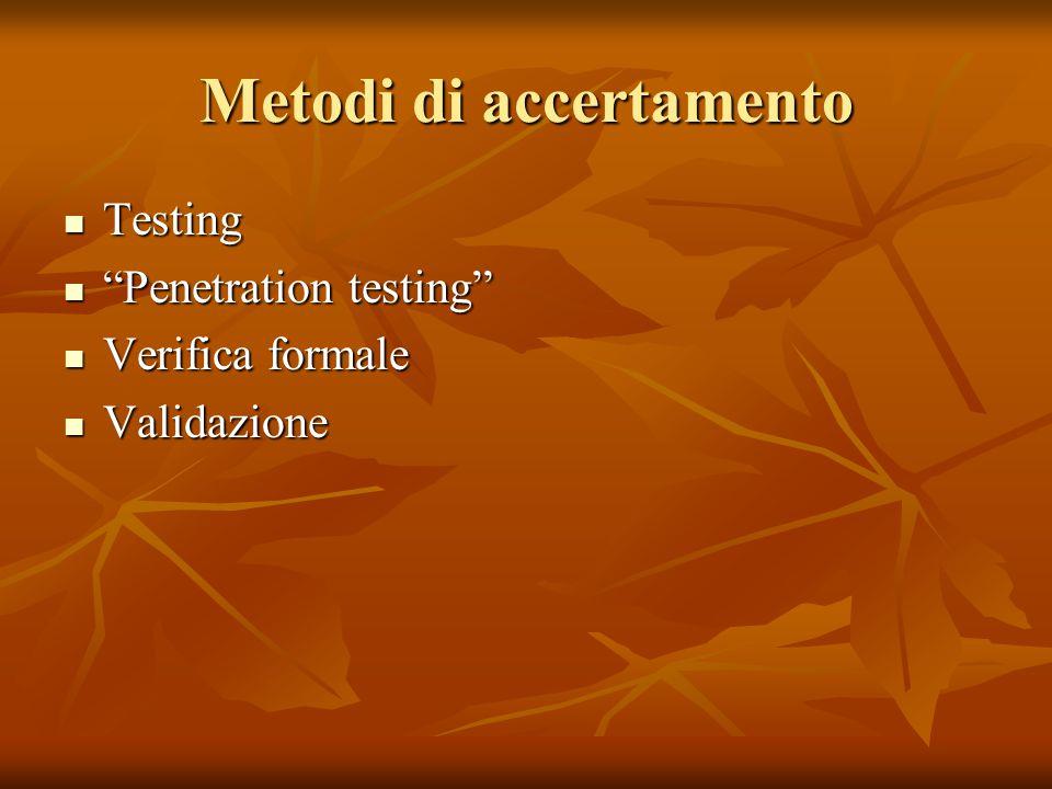 "Metodi di accertamento Testing Testing ""Penetration testing"" ""Penetration testing"" Verifica formale Verifica formale Validazione Validazione"
