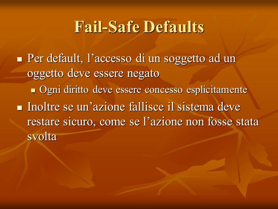 Fail-Safe Defaults Per default, l'accesso di un soggetto ad un oggetto deve essere negato Per default, l'accesso di un soggetto ad un oggetto deve ess