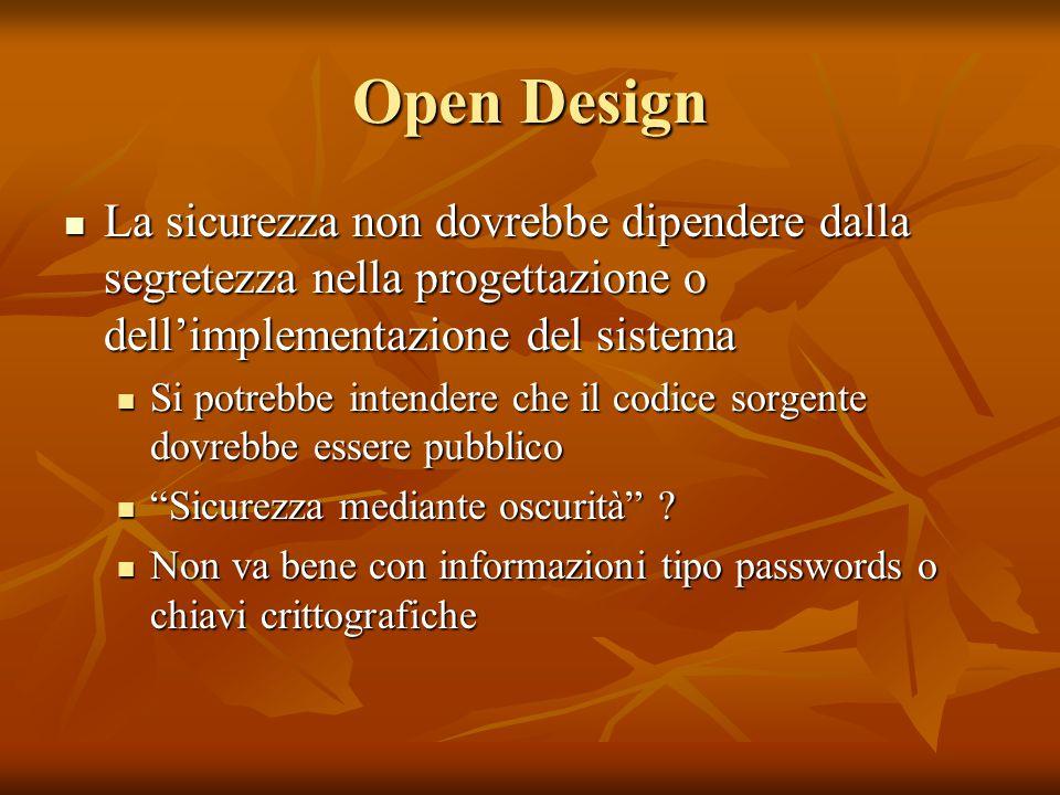 Open Design La sicurezza non dovrebbe dipendere dalla segretezza nella progettazione o dell'implementazione del sistema La sicurezza non dovrebbe dipe
