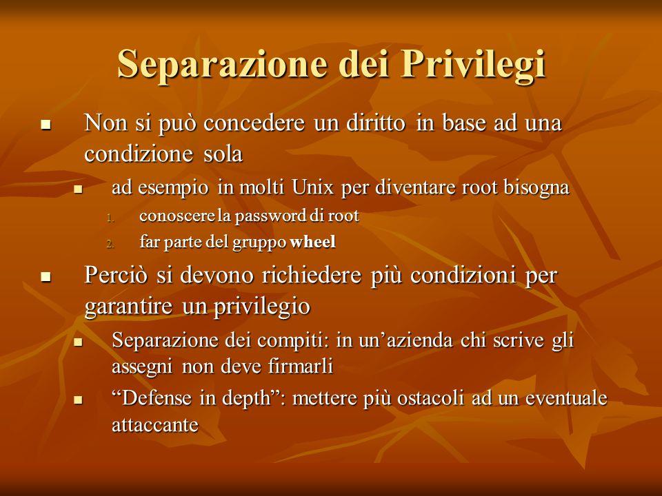 Separazione dei Privilegi Non si può concedere un diritto in base ad una condizione sola Non si può concedere un diritto in base ad una condizione sol