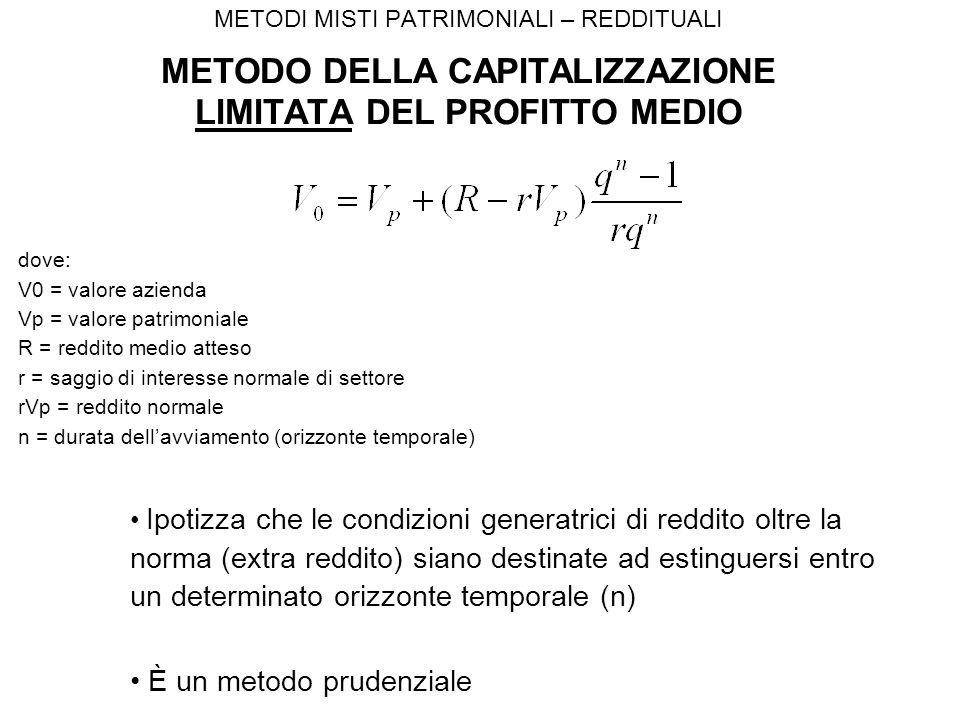 METODI MISTI PATRIMONIALI – REDDITUALI METODO DELLA CAPITALIZZAZIONE LIMITATA DEL PROFITTO MEDIO Ipotizza che le condizioni generatrici di reddito oltre la norma (extra reddito) siano destinate ad estinguersi entro un determinato orizzonte temporale (n) È un metodo prudenziale dove: V0 = valore azienda Vp = valore patrimoniale R = reddito medio atteso r = saggio di interesse normale di settore rVp = reddito normale n = durata dell'avviamento (orizzonte temporale)