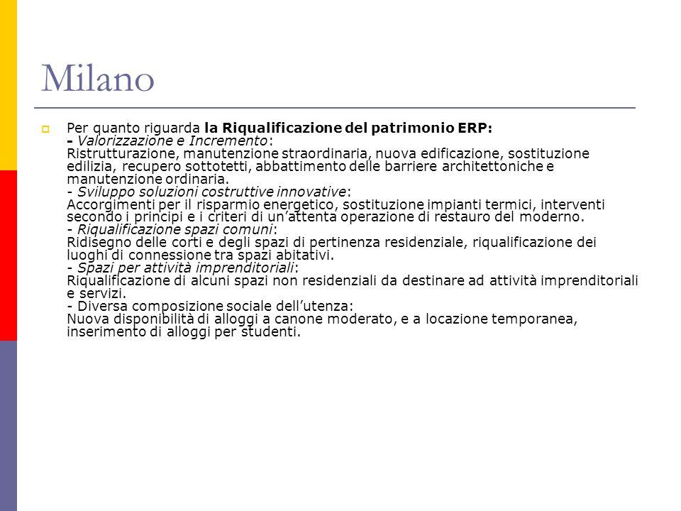 Milano  Per quanto riguarda la Riqualificazione del patrimonio ERP: - Valorizzazione e Incremento: Ristrutturazione, manutenzione straordinaria, nuov