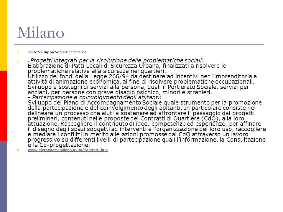 Milano  per lo Sviluppo Sociale comprende:  - Progetti integrati per la risoluzione delle problematiche sociali: Elaborazione di Patti Locali di Sic